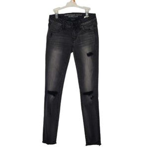 AEO black super low rise distressed jegging size 0